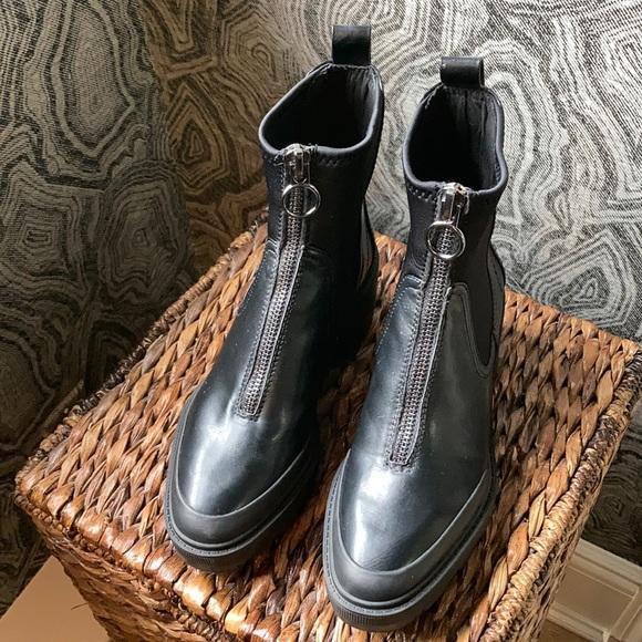 Zara zipper black zipper boots